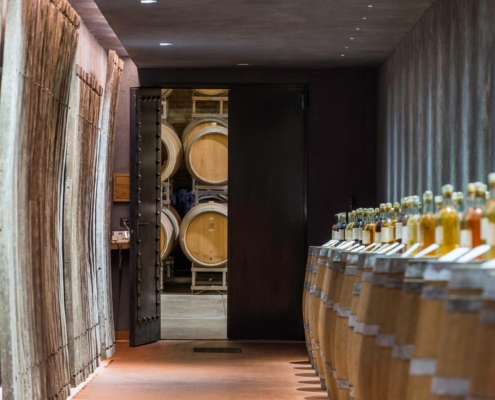 traditional French winery entrance in Italy with barrels and wine selection
