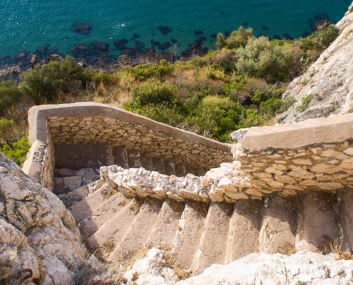 steps towards the sea in Terracina