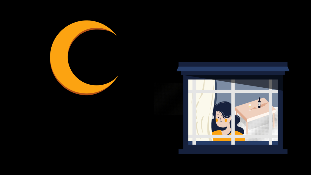 where love begins judith hermann book cover graphic woman at the window under half orange moon