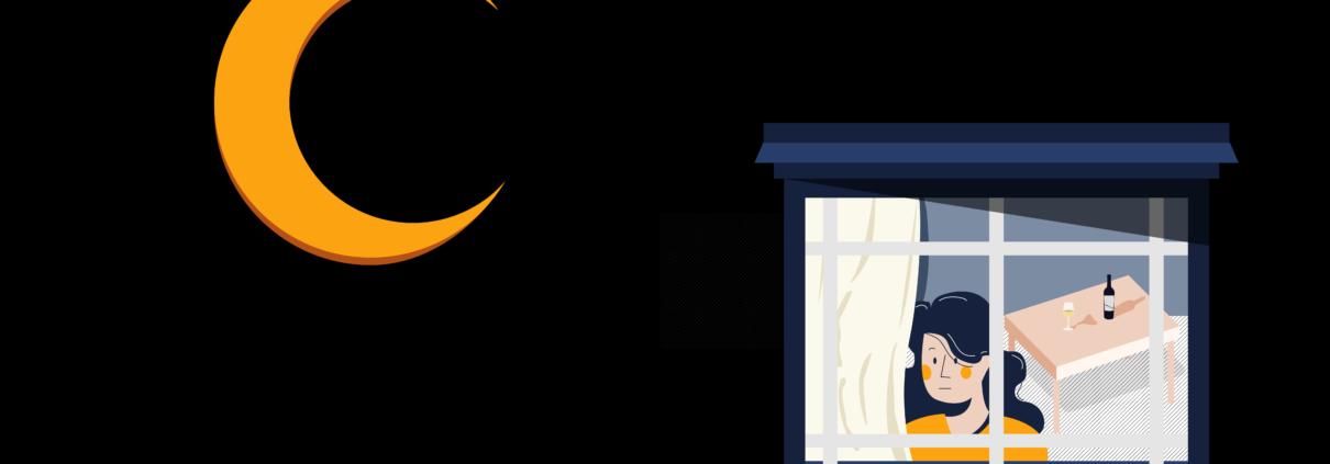 l'amore all'inizio judith hermann libro copertina grafica donna alla finestra e mezza luna arancio
